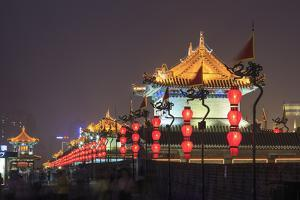 Night Lighting and Glowing Lanterns, Views from Atop City Wall, Xi'An, China by Stuart Westmorland