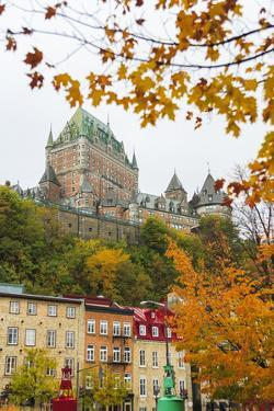 View of Chateau Frontenac from Quartier du Petit-Champlain, Vieux-Quebec, the only Walled City in N by Stuart Westmorland