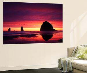 View of Haystack Rock on Cannon Beach at Sunset, Oregon, USA by Stuart Westmorland