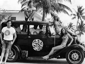Students During Spring Break at Ft Lauderdale with 1930s Roadster, Apr 20, 1968