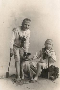 Studio Portrait, Two Boys with Jack Russell Terrier
