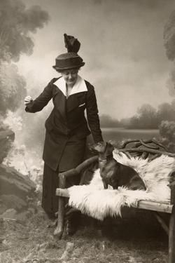 Studio Portrait, Woman with Dachshund