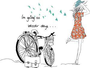 Summer Bicycle Vintage Girl by studiohome