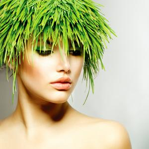 Beauty Spring or Woman with Fresh Green Grass Hair. Summer Nature Girl Portrait. Fashion Model by Subbotina Anna