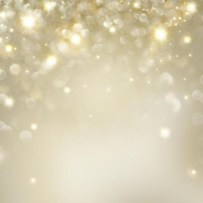 Christmas Background: Golden Holiday Abstract Glitter Defocused Background with Blinking Stars