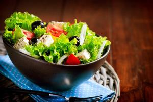 Greek Salad. Mediterranean Salad with Feta Cheese, Tomatoes and Olives. Healthy Fresh Vegetarian Fo by Subbotina Anna