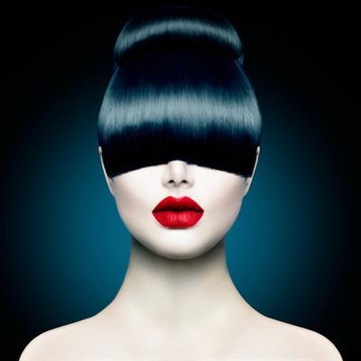 High Fashion Model Girl Portrait with Trendy Fringe Hair Style and Makeup. Long Black Fringe Hairst by Subbotina Anna