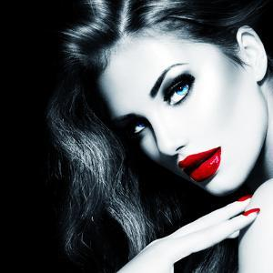 Sexy Beauty Girl with Red Lips and Nails by Subbotina Anna
