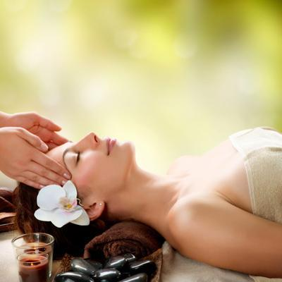 Spa Massage. Facial Massage Outdoor. Nature. Beauty Treatments by Subbotina Anna