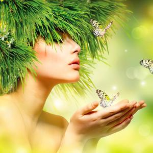 Spring Woman. Beauty Summer Girl with Grass Hair and Green Makeup. Butterflies. Nature Style. Envir by Subbotina Anna