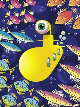 Submarine Surrounded by Fish
