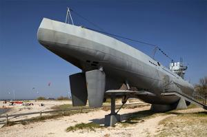 Submarine U995 in front of the Marine Memorial, Baltic Spa Town of Laboe, Germany