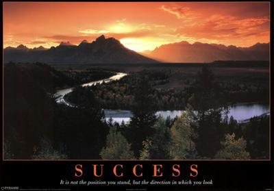 Success Mountains and Stream Motivational Poster Print