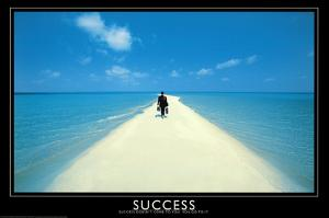 Success Walking on Beach Art Print Poster