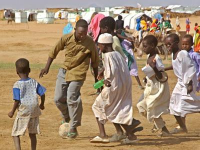 Sudanese Displaced Children Play Soccer at Abu Shouk Camp