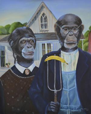 Monkey American Gothic by Sue Clyne