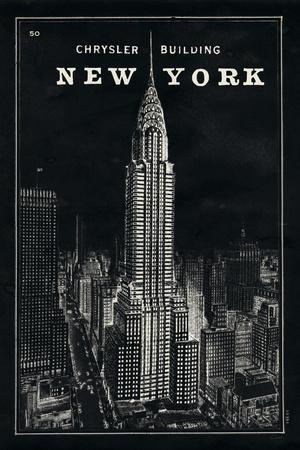 Blueprint Map New York Chrysler Building Black