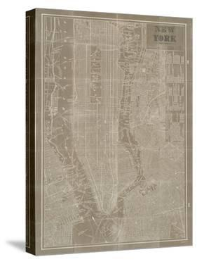 Blueprint Map New York Taupe by Sue Schlabach