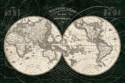 French World Map I Black and White by Sue Schlabach