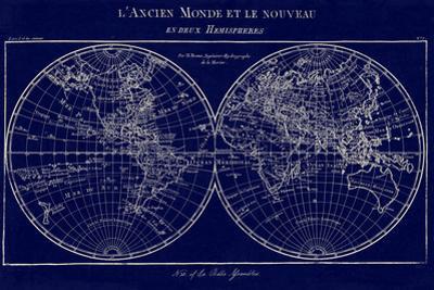 Map of the World Indigo by Sue Schlabach