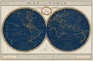 Torkingtons World Map Indigo Globes by Sue Schlabach