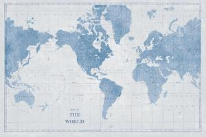 World Map White and Blue by Sue Schlabach