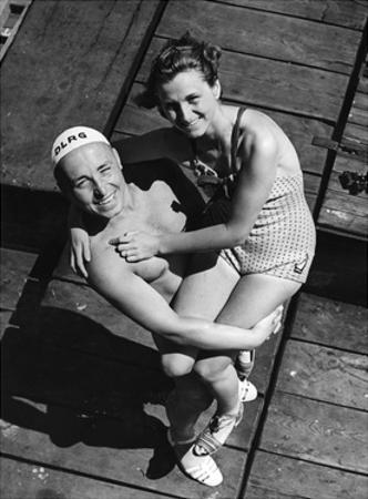 A Lifeguard Posing with a Female Swimmer, 1939