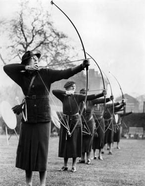 Archeresses Compete in London, 1938 by Süddeutsche Zeitung Photo