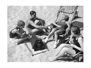 Bathers Listening to Music, 1938 by Süddeutsche Zeitung Photo
