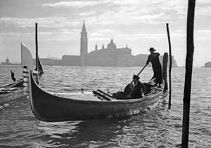 Gondolier in Front of San Giorgio Maggiore in Venice, 1939 by Süddeutsche Zeitung Photo