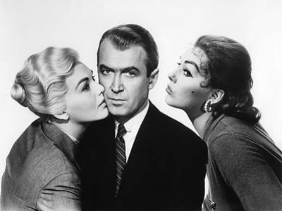 Sueurs Froides VERTIGO by AlfredHitchcock with James Stewart and Kim Novak, 1958 (b/w photo)