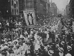 Suffragette Demonstration with Women Carrying Wands Tipped with Silver Broad-Arrows and Banner