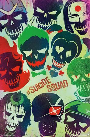 Suicide Squad Cast Poster Movie Greats SINGLE CANVAS WALL ART Picture Print