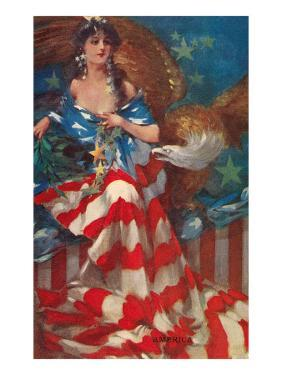 Sultry Siren Wrapped in Flag