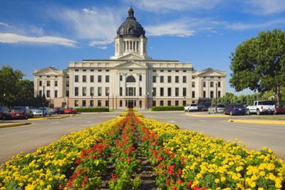 Summer flower-bed leading to South Dakota State Capitol and complex, Pierre, South Dakota, was b...