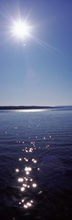 Sun Shining Over a Lake, Hemlock Lake, Finger Lakes, New York State, USA