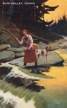 Sun Valley, Idaho, Fishing Woman with Pointer