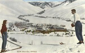 Sun Valley, Idaho, Skiers Looking Over Town