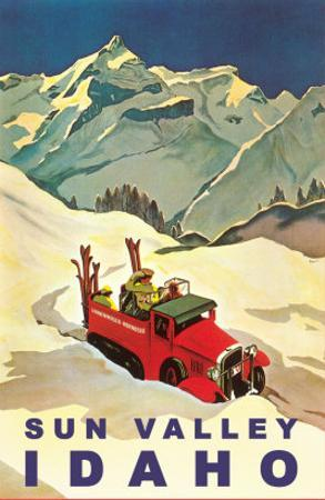 Sun Valley, Idaho, Vintage Truck with Skiers