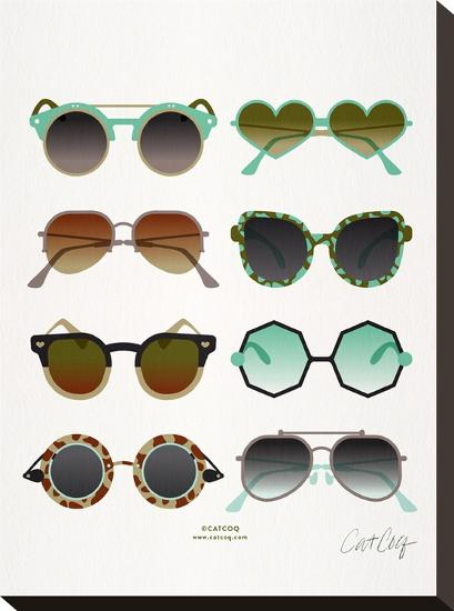 Sunglasses Mint And Sepia-Cat Coquillette-Stretched Canvas
