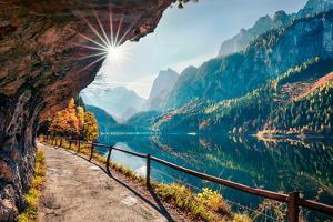 Sunny Autumn Scene of Vorderer ( Gosausee ) Lake. Colorful Morning View of Austrian Alps, Upper Aus