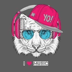 The Image of the Tiger in the Glasses, Headphones and in Hip-Hop Hat. Vector Illustration. by Sunny Whale
