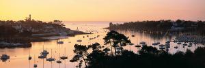 Sunrise over a Town at River Odet Estuary, Benodet, Finistere, Brittany, France