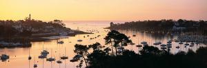 Sunrise over a Town at River Odet Estuary, Benodet, Finistere, Brittany, France