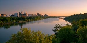Sunrise over South Saskatchewan River and Saskatoon Skyline, Saskatchewan, Canada