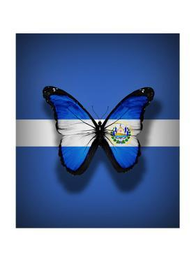El Salvador Flag Butterfly, Isolated On Flag Background by suns_luck