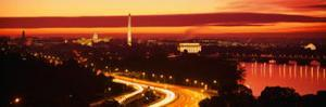 Sunset, Aerial, Washington DC, District of Columbia, USA