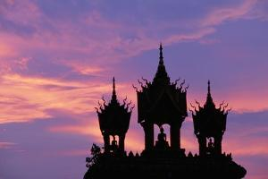 Sunset at Pha That Luang Gate in Laos
