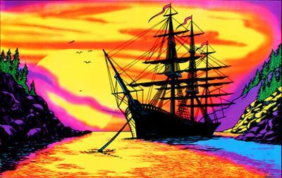 Sunset Bay Ship Flocked Blacklight Poster Art Print