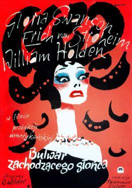Sunset Boulevard, (AKA Bulwar Zachodzacego Slonca), Polish Poster Art, Gloria Swanson, 1950